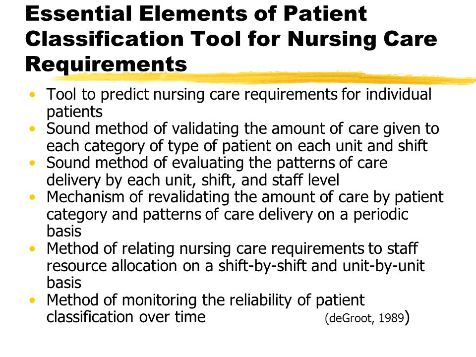 Essential Elements of Patient Classification Tool for Nursing Care Requirements Tool to predict nursing care requirements for individual patients Sound method of validating the amount of care given to each category of type of patient on each unit and shift Sound method of evaluating the patterns of care delivery by each unit, shift, and staff level Mechanism of revalidating the amount of care by patient category and patterns of care delivery on a periodic basis Method of relating nursing care requirements to staff resource allocation on a shift-by-shift and unit-by-unit basis Method of monitoring the reliability of patient classification over time (deGroot, 1989 )