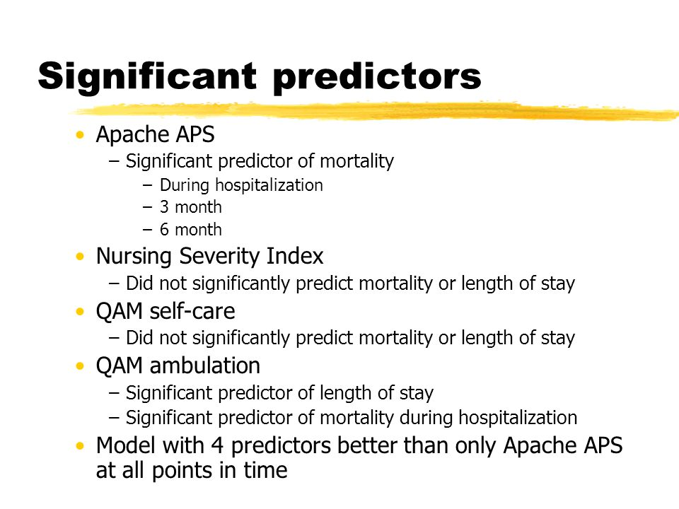 Significant predictors Apache APS –Significant predictor of mortality –During hospitalization –3 month –6 month Nursing Severity Index –Did not significantly predict mortality or length of stay QAM self-care –Did not significantly predict mortality or length of stay QAM ambulation –Significant predictor of length of stay –Significant predictor of mortality during hospitalization Model with 4 predictors better than only Apache APS at all points in time