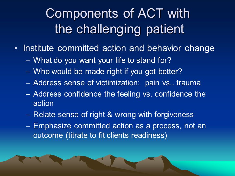 Components of ACT with the challenging patient Institute committed action and behavior change –What do you want your life to stand for? –Who would be