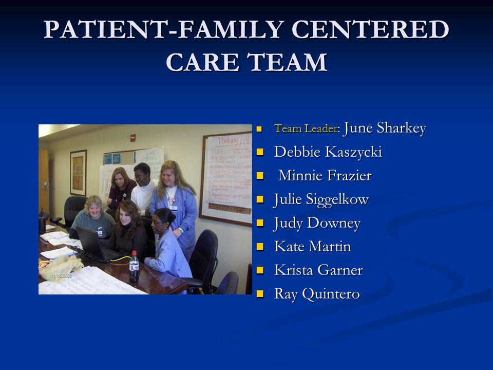 PATIENT-FAMILY CENTERED CARE TEAM Team Leader: June Sharkey Debbie Kaszycki Minnie Frazier Julie Siggelkow Judy Downey Kate Martin Krista Garner Ray Q