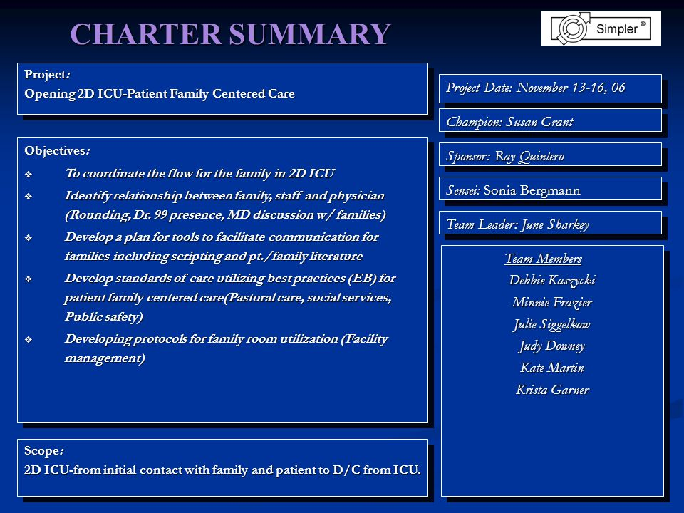 Project: Opening 2D ICU-Patient Family Centered Care Project: Opening 2D ICU-Patient Family Centered Care Objectives:  To coordinate the flow for the