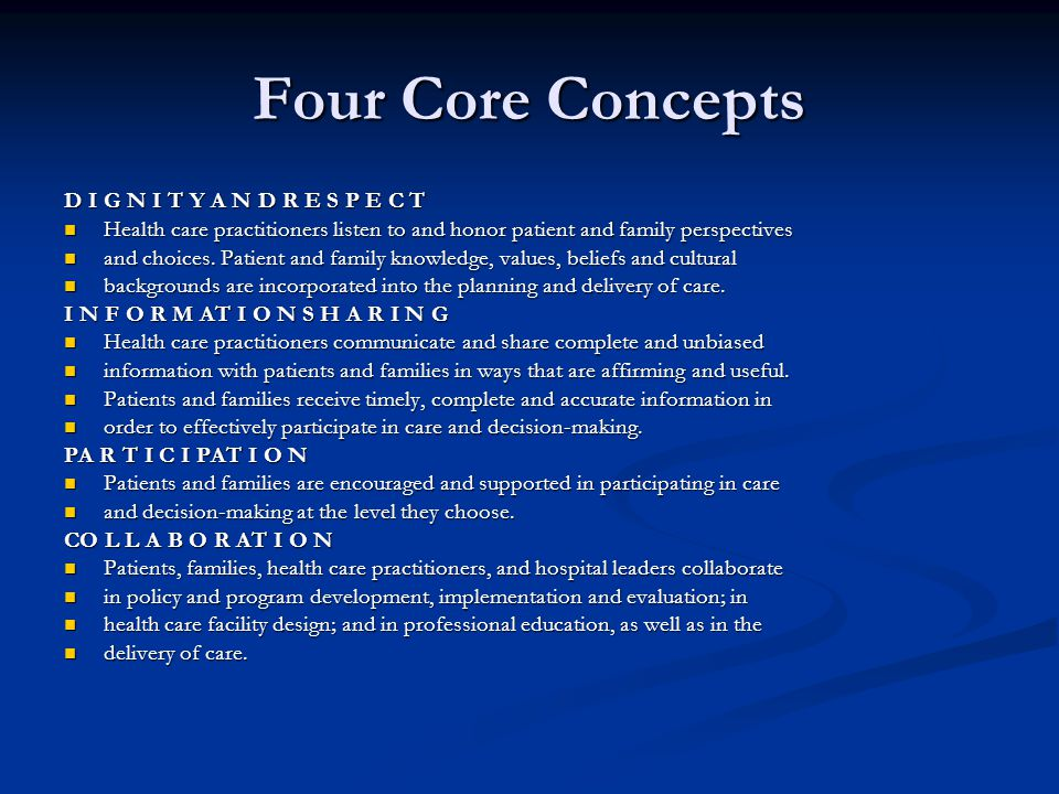 Four Core Concepts D I G N I T Y A N D R E S P E C T Health care practitioners listen to and honor patient and family perspectives Health care practit