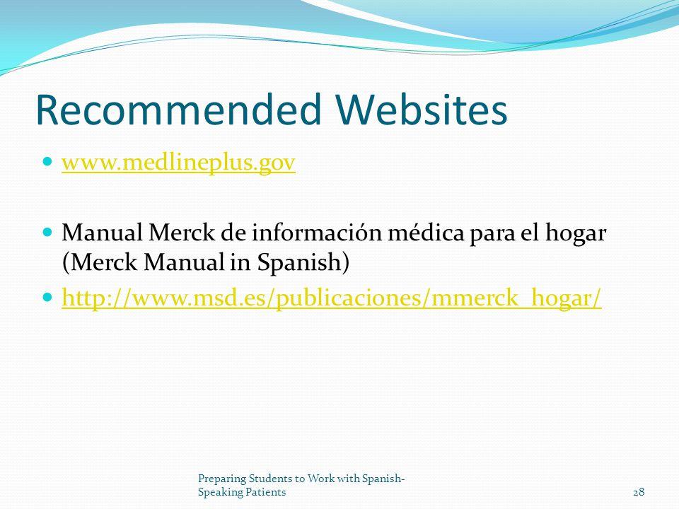 Recommended Websites www.medlineplus.gov Manual Merck de información médica para el hogar (Merck Manual in Spanish) http://www.msd.es/publicaciones/mmerck_hogar/ 28 Preparing Students to Work with Spanish- Speaking Patients