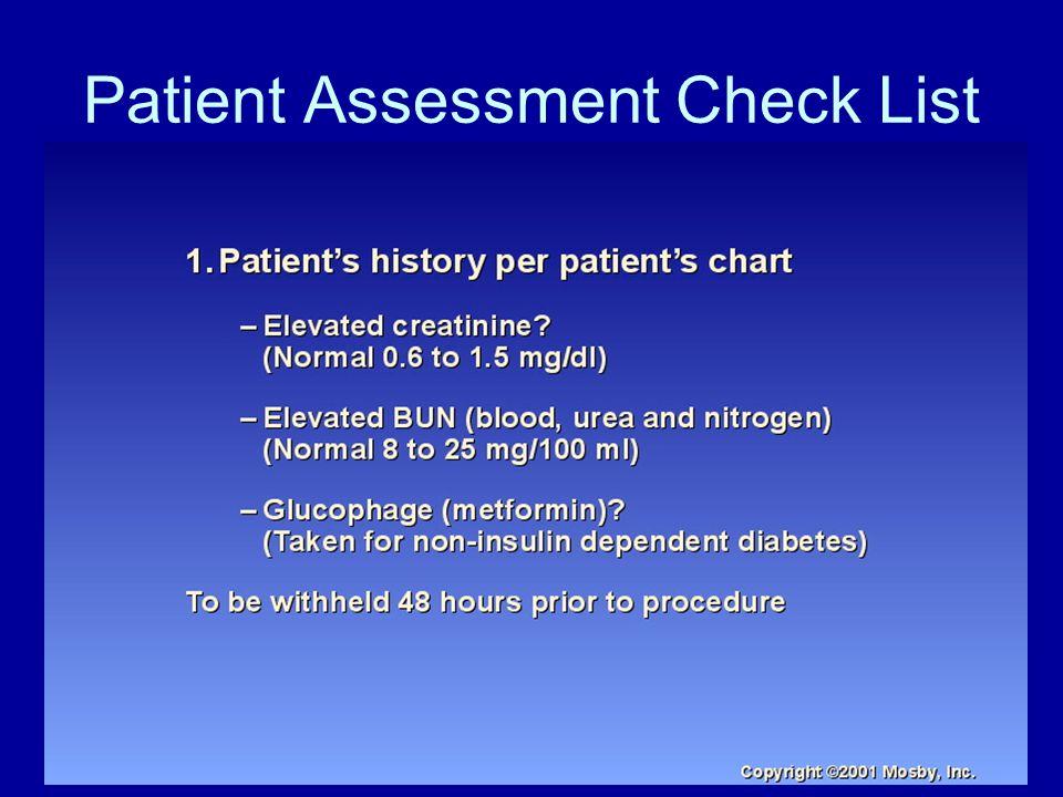 Patient Assessment Check List