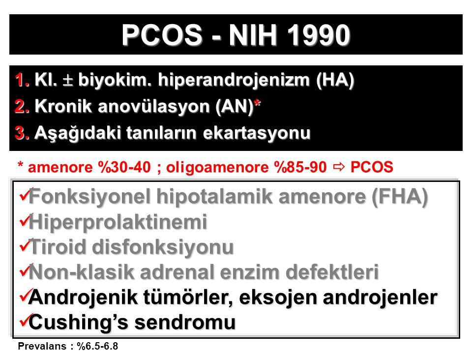 PCOS - NIH 1990 1. Kl.  biyokim. hiperandrojenizm (HA) 2.