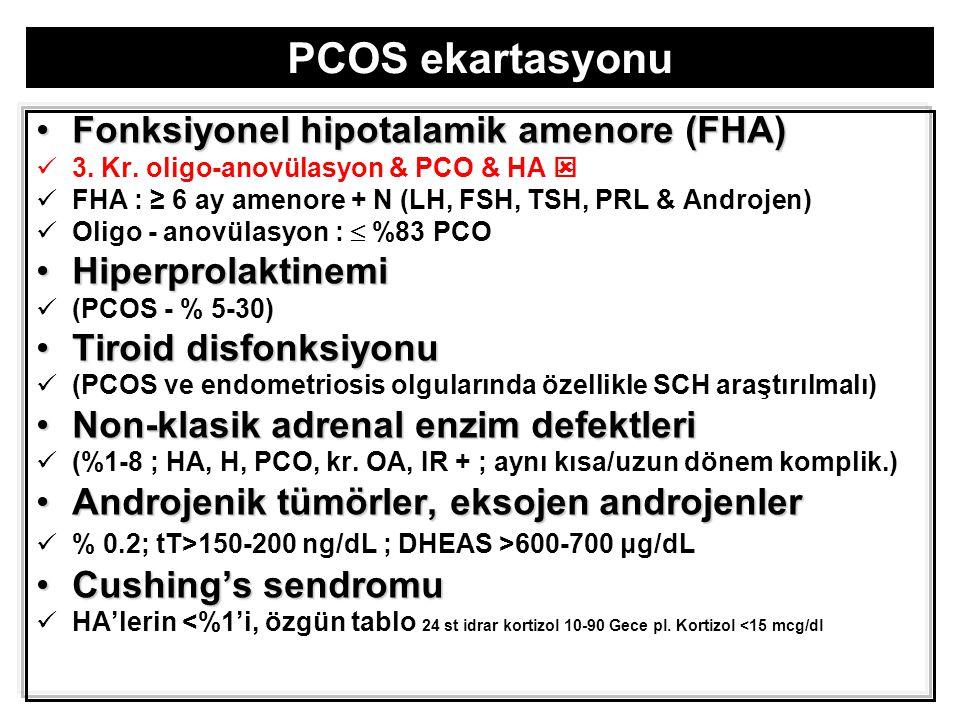 PCOS ekartasyonu Fonksiyonel hipotalamik amenore (FHA)Fonksiyonel hipotalamik amenore (FHA) 3.
