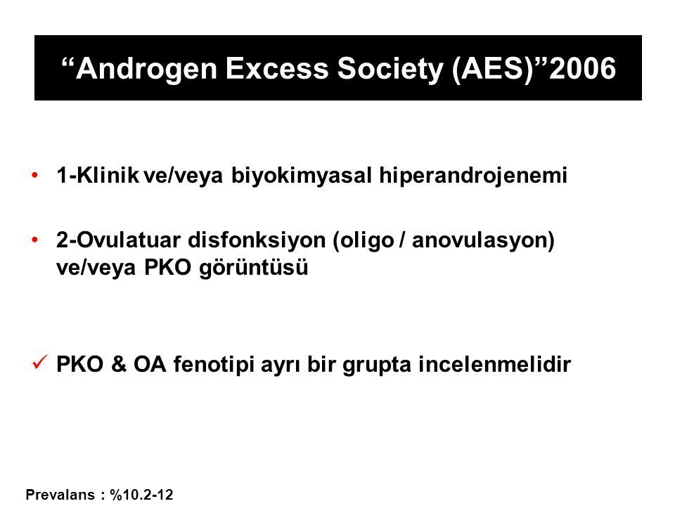 Androgen Excess Society (AES) 2006 1-Klinik ve/veya biyokimyasal hiperandrojenemi 2-Ovulatuar disfonksiyon (oligo / anovulasyon) ve/veya PKO görüntüsü PKO & OA fenotipi ayrı bir grupta incelenmelidir Prevalans : %10.2-12