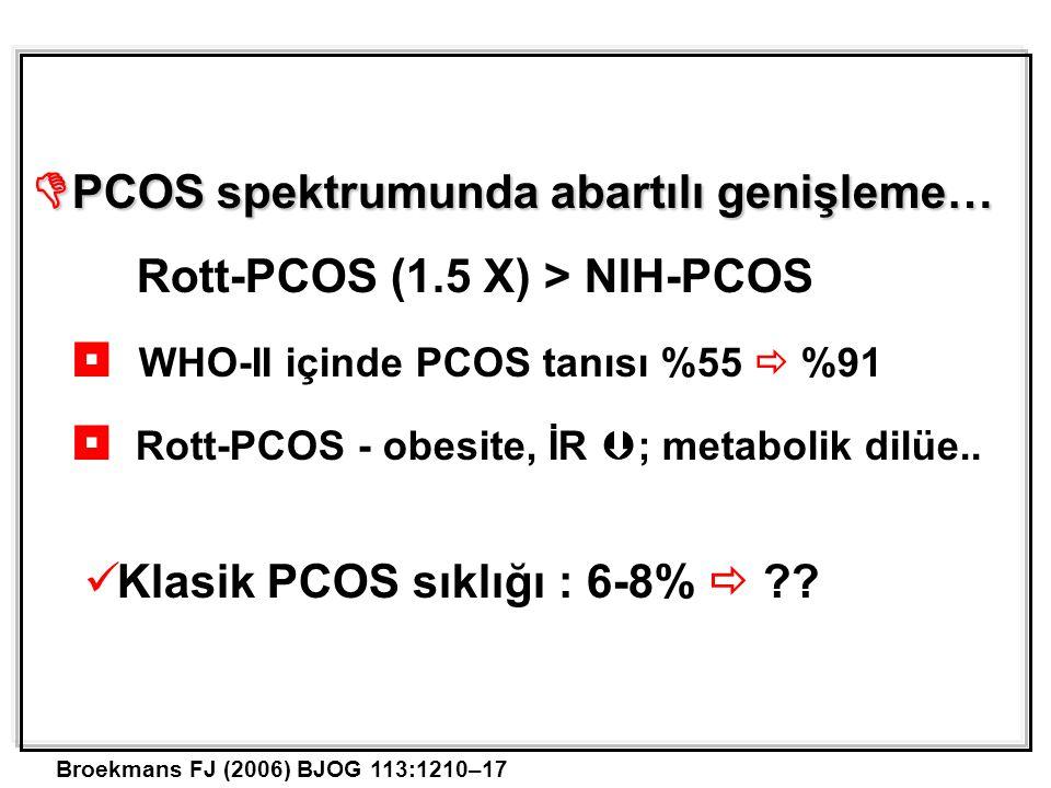  PCOS spektrumunda abartılı genişleme… Rott-PCOS (1.5 X) > NIH-PCOS  WHO-II içinde PCOS tanısı %55  %91  Rott-PCOS - obesite, İR  ; metabolik dilüe..