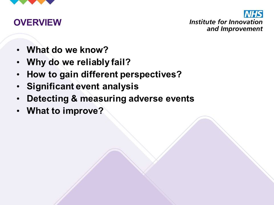 OVERVIEW What do we know. Why do we reliably fail.