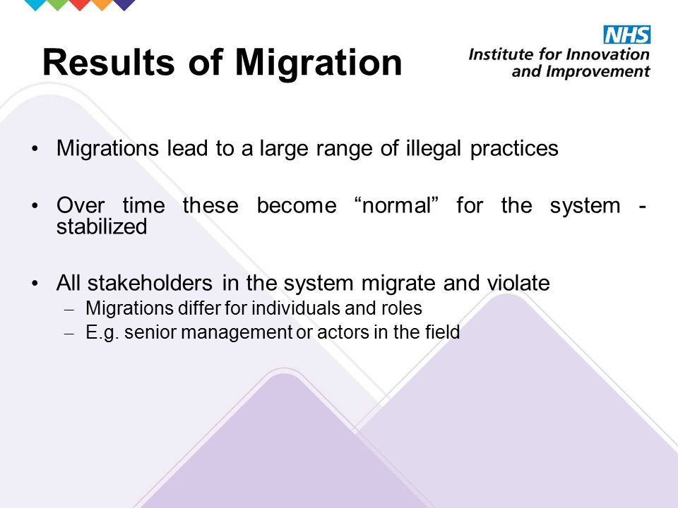 Results of Migration Migrations lead to a large range of illegal practices Over time these become normal for the system - stabilized All stakeholders in the system migrate and violate – Migrations differ for individuals and roles – E.g.