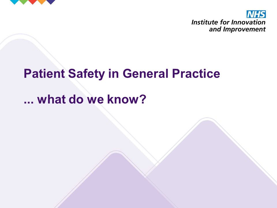 Patient Safety in General Practice... what do we know?