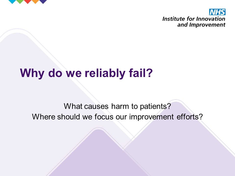 Why do we reliably fail. What causes harm to patients.