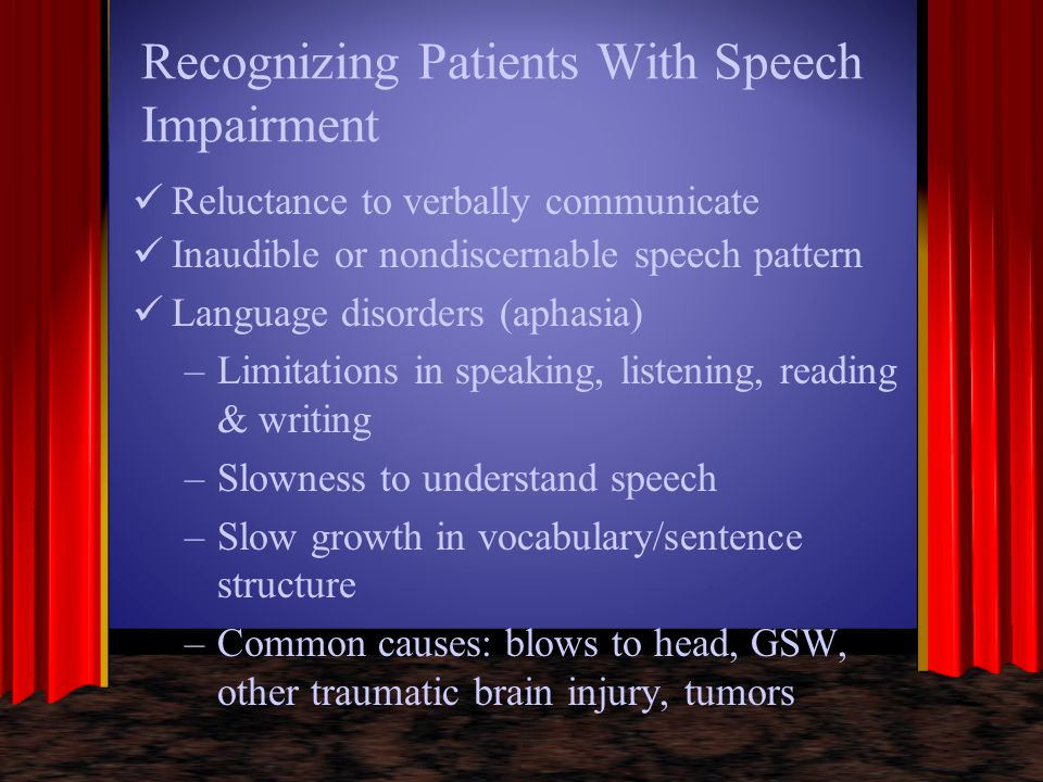 Recognizing Patients With Speech Impairment Reluctance to verbally communicate Inaudible or nondiscernable speech pattern Language disorders (aphasia)