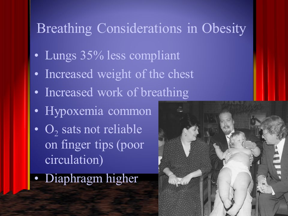 Breathing Considerations in Obesity Lungs 35% less compliant Increased weight of the chest Increased work of breathing Hypoxemia common O 2 sats not r