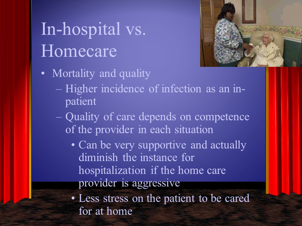 In-hospital vs. Homecare Mortality and quality –Higher incidence of infection as an in- patient –Quality of care depends on competence of the provider