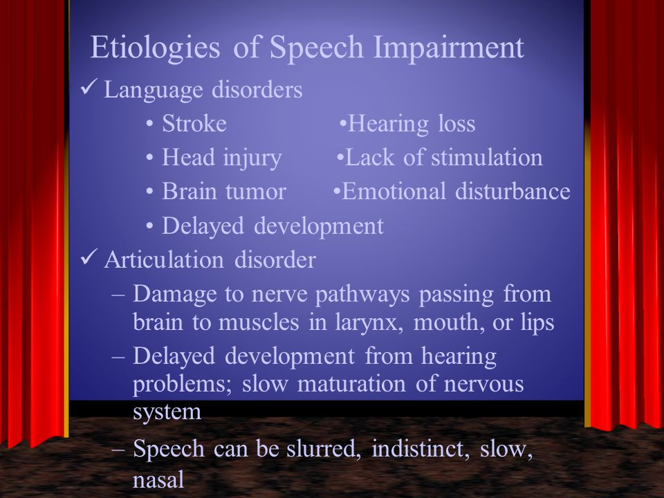 Etiologies of Speech Impairment Voice production disorders –Disorder affecting closure of vocal cords –Hormonal or psychiatric disturbances –Severe hearing loss –Hoarseness, harshness, inappropriate pitch, abnormal nasal resonance Fluency Disorders –Not well understood –Marked by repetition of single sounds or whole words –Stuttering