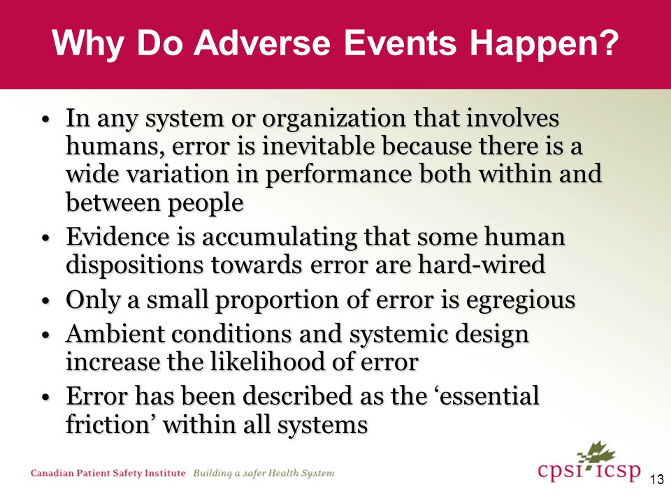 13 Why Do Adverse Events Happen.