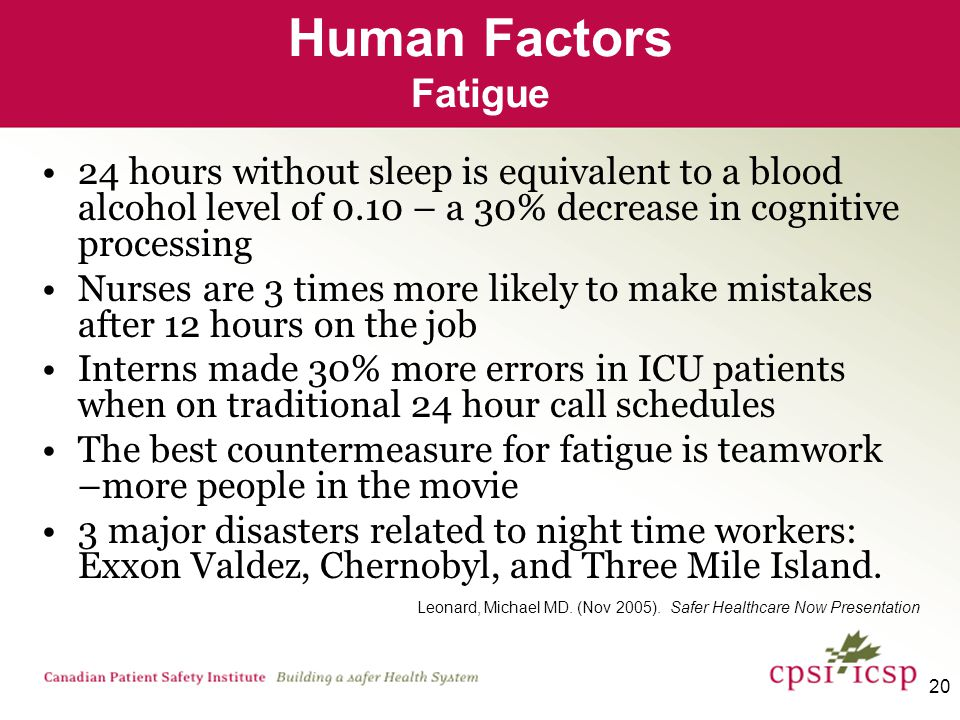 20 Human Factors Fatigue 24 hours without sleep is equivalent to a blood alcohol level of 0.10 – a 30% decrease in cognitive processing Nurses are 3 times more likely to make mistakes after 12 hours on the job Interns made 30% more errors in ICU patients when on traditional 24 hour call schedules The best countermeasure for fatigue is teamwork –more people in the movie 3 major disasters related to night time workers: Exxon Valdez, Chernobyl, and Three Mile Island.