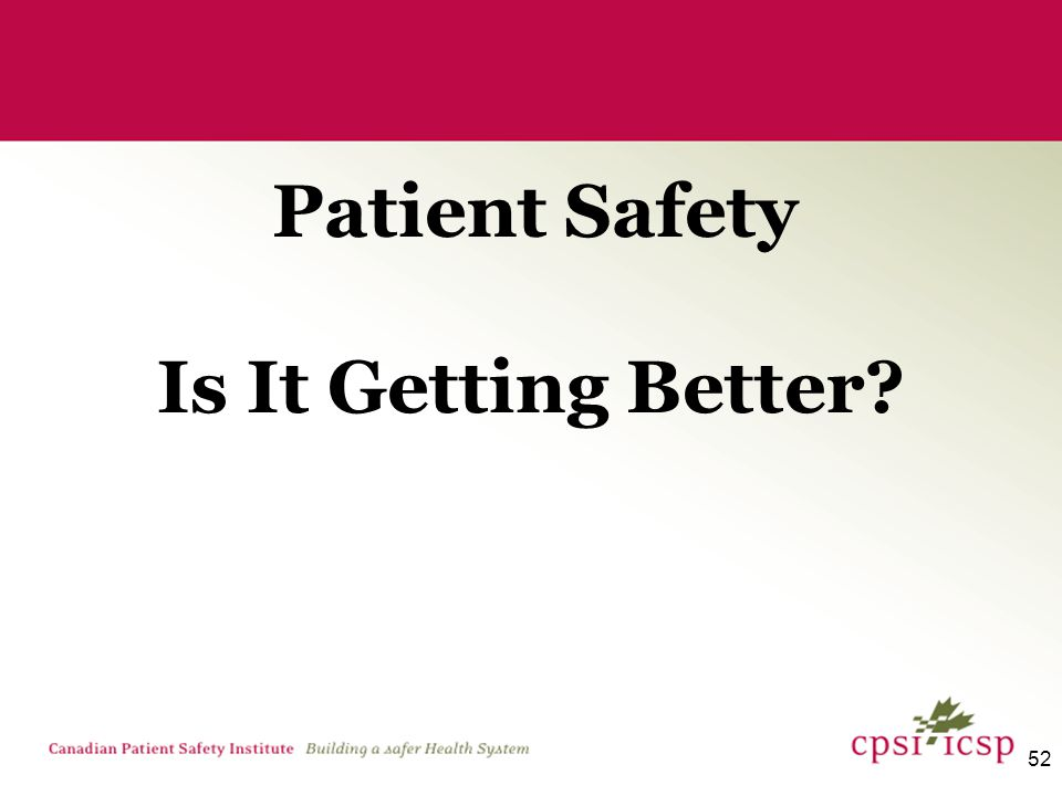 52 Is It Getting Better Patient Safety
