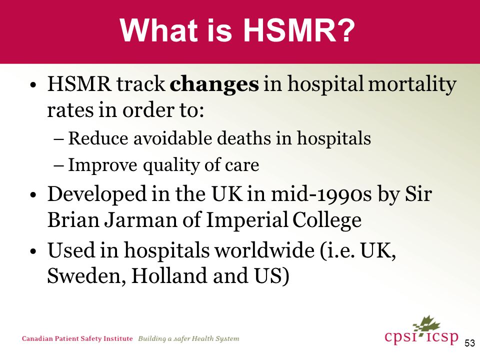 54 HSMR is easy to interpret Equal to 100 –No difference between facility's mortality rate and average rate More than 100 –Facility's mortality rate is higher than the average rate Less than 100 –Facility's mortality rate is lower than the average rate