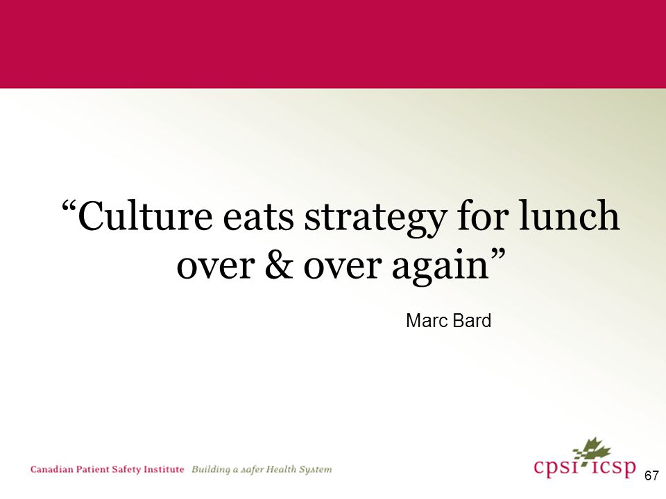 67 Culture eats strategy for lunch over & over again Marc Bard