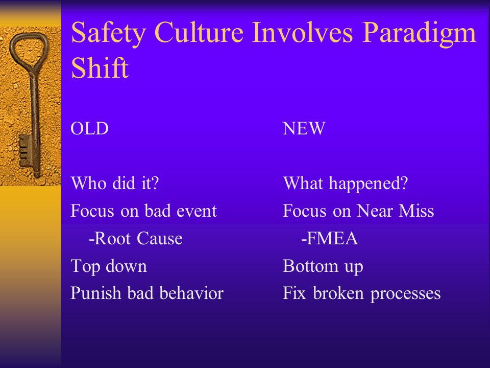 Safety Culture Involves Paradigm Shift OLD Who did it.