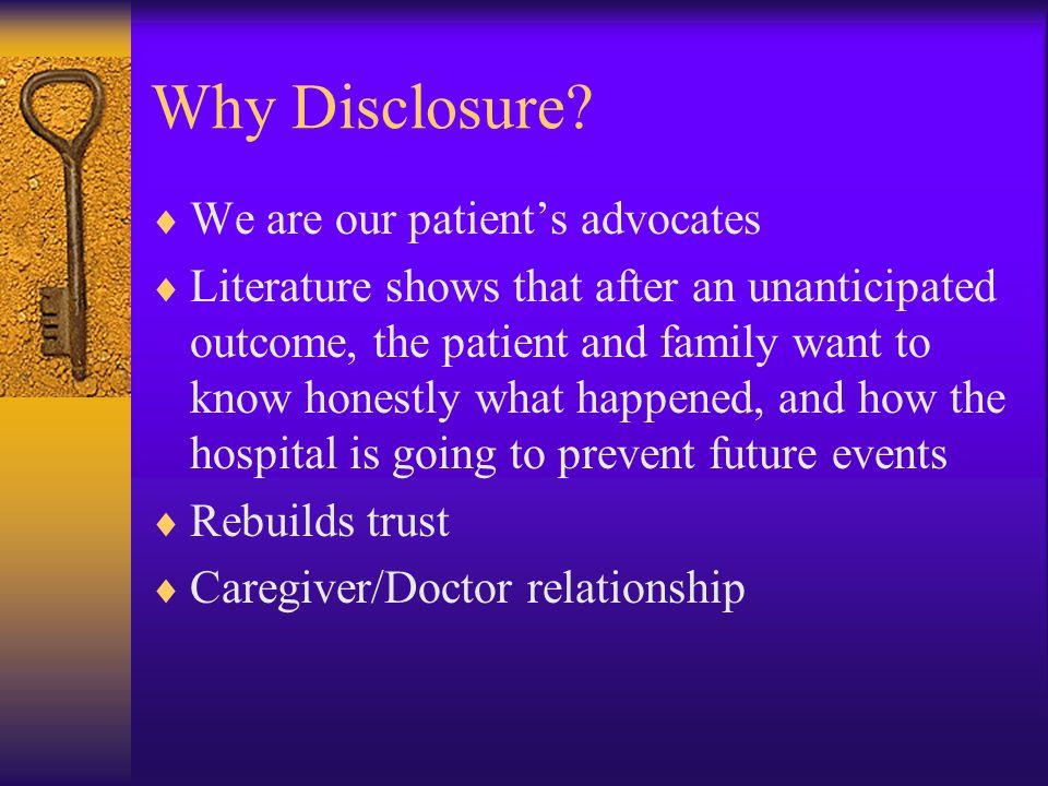 Why Disclosure.