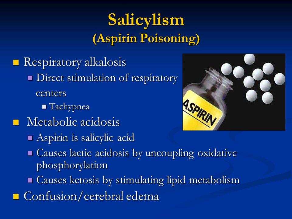 Salicylism (Aspirin Poisoning) Respiratory alkalosis Respiratory alkalosis Direct stimulation of respiratory Direct stimulation of respiratory centers centers Tachypnea Tachypnea Metabolic acidosis Metabolic acidosis Aspirin is salicylic acid Aspirin is salicylic acid Causes lactic acidosis by uncoupling oxidative phosphorylation Causes lactic acidosis by uncoupling oxidative phosphorylation Causes ketosis by stimulating lipid metabolism Causes ketosis by stimulating lipid metabolism Confusion/cerebral edema Confusion/cerebral edema