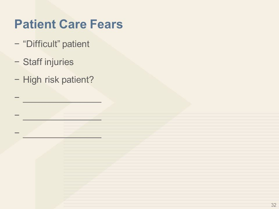 32 Patient Care Fears − Difficult patient −Staff injuries −High risk patient −_______________