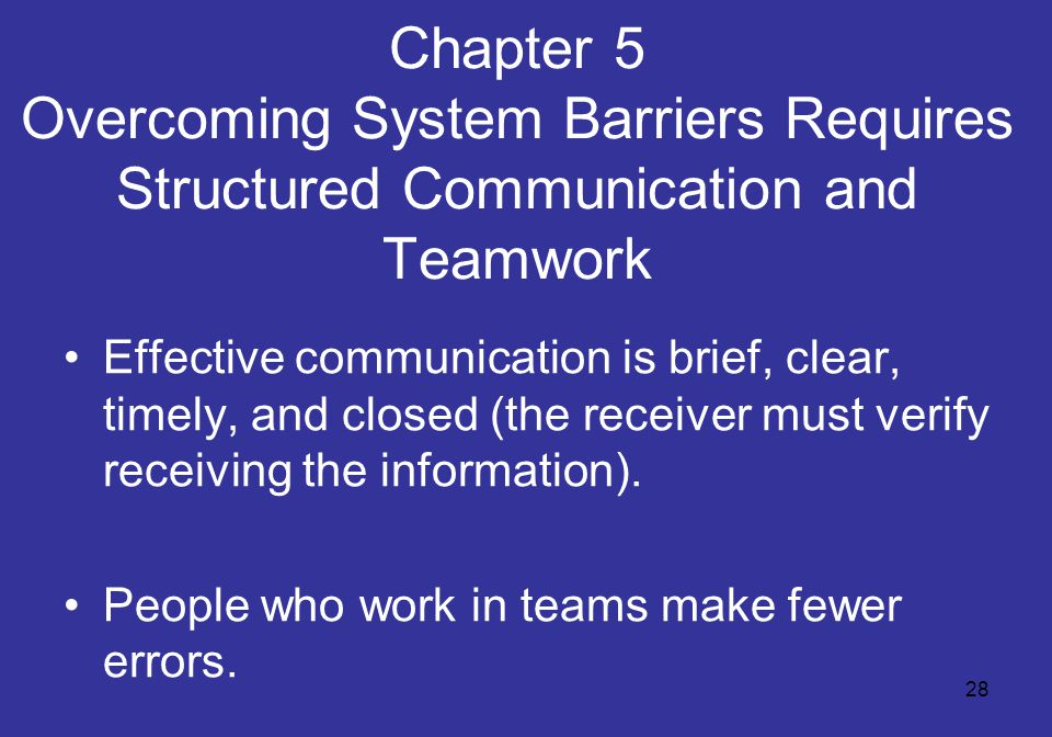 28 Chapter 5 Overcoming System Barriers Requires Structured Communication and Teamwork Effective communication is brief, clear, timely, and closed (the receiver must verify receiving the information).