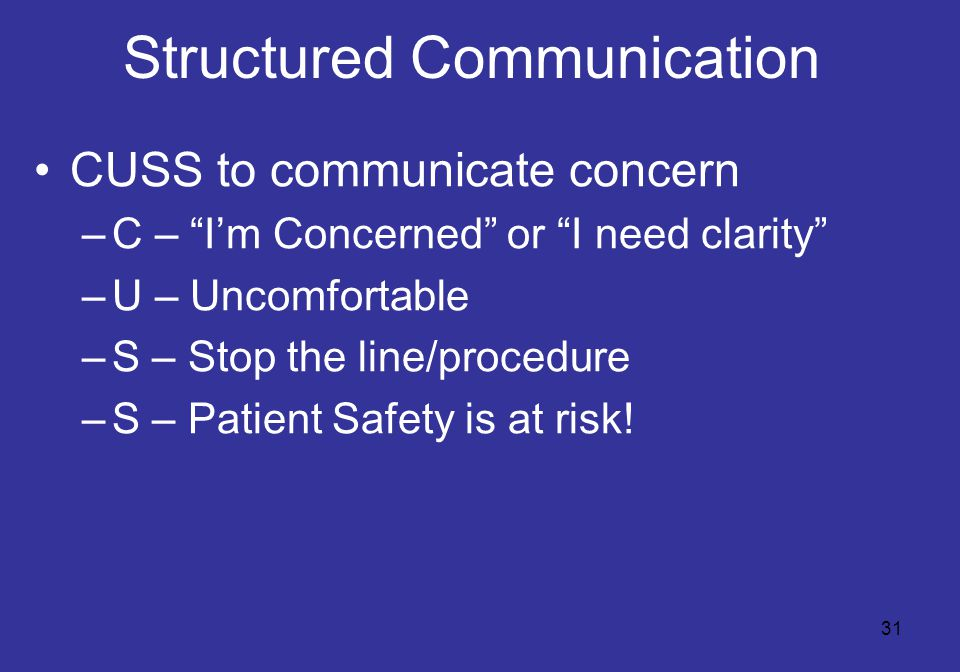 31 Structured Communication CUSS to communicate concern –C – I'm Concerned or I need clarity –U – Uncomfortable –S – Stop the line/procedure –S – Patient Safety is at risk!