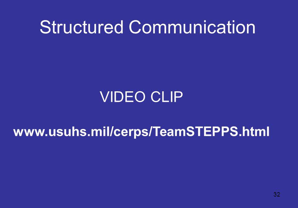 32 Structured Communication VIDEO CLIP www.usuhs.mil/cerps/TeamSTEPPS.html