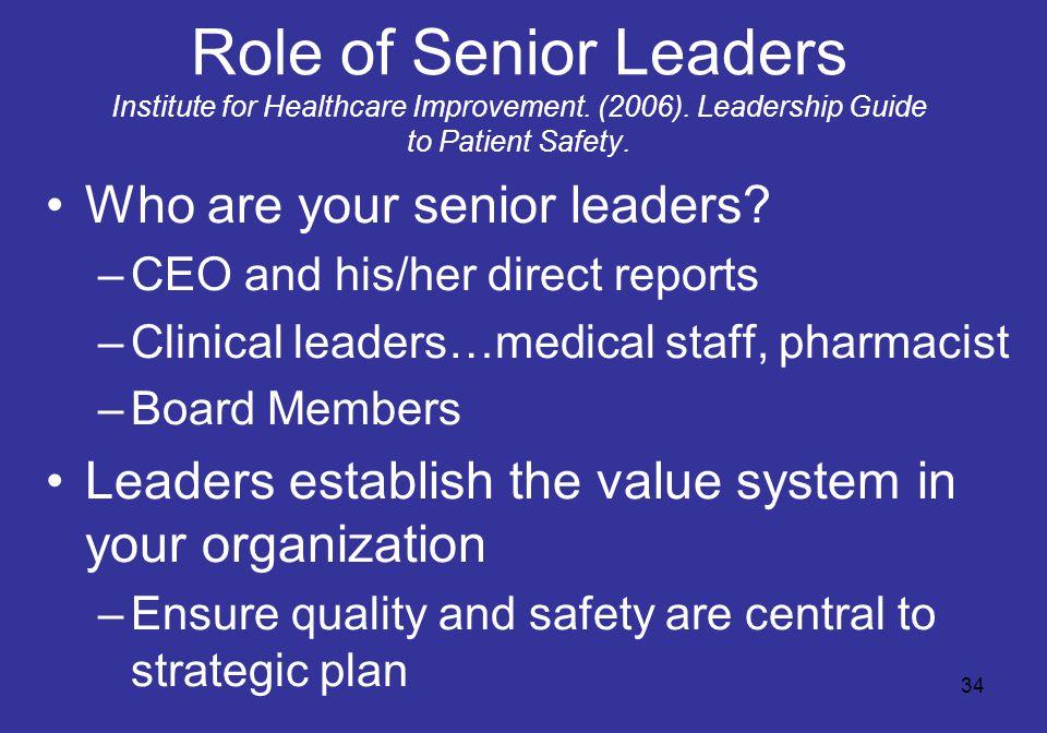 34 Role of Senior Leaders Institute for Healthcare Improvement.