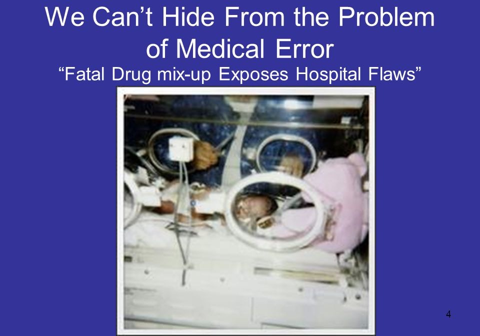 """4 We Can't Hide From the Problem of Medical Error """"Fatal Drug mix-up Exposes Hospital Flaws"""""""