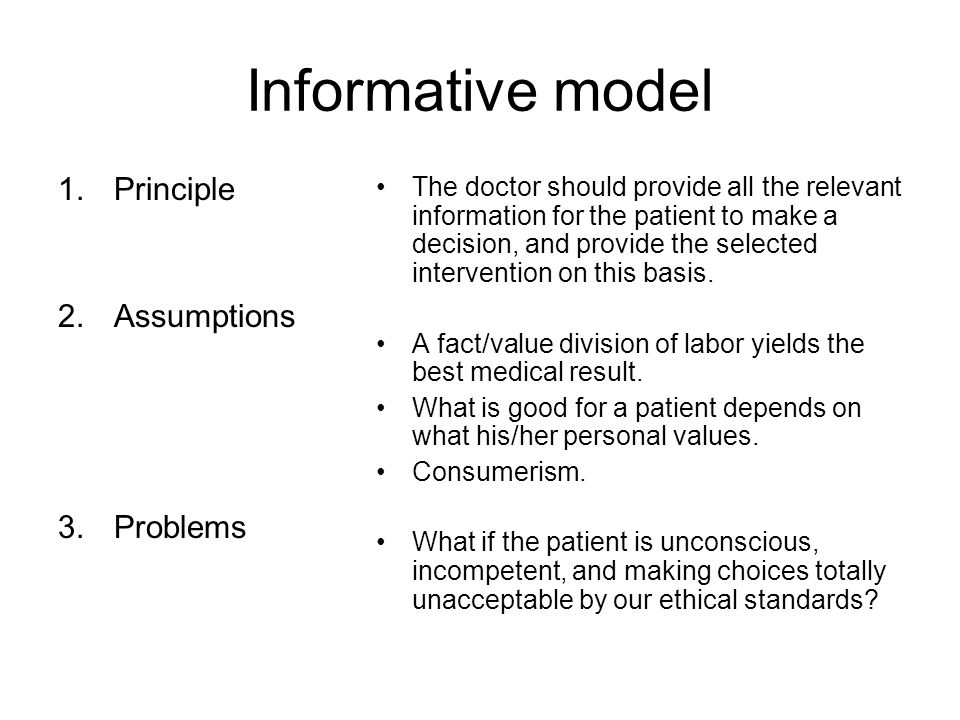 Informative model 1.Principle 2.Assumptions 3.Problems The doctor should provide all the relevant information for the patient to make a decision, and provide the selected intervention on this basis.