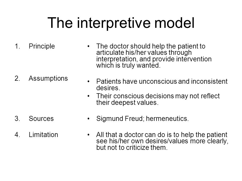 The interpretive model 1.Principle 2.Assumptions 3.Sources 4.Limitation The doctor should help the patient to articulate his/her values through interpretation, and provide intervention which is truly wanted.