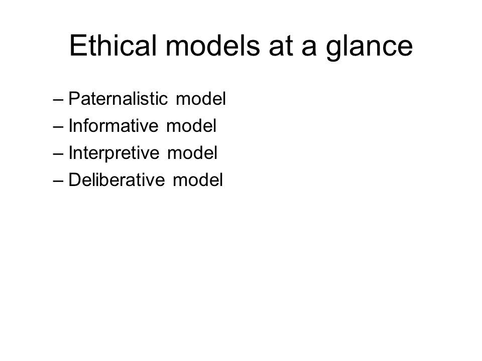 Ethical models at a glance –Paternalistic model –Informative model –Interpretive model –Deliberative model