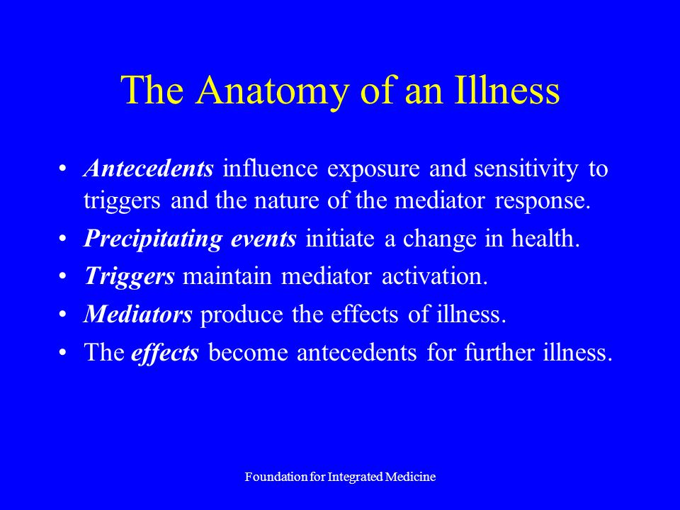 Foundation for Integrated Medicine The Anatomy of an Illness Antecedents influence exposure and sensitivity to triggers and the nature of the mediator