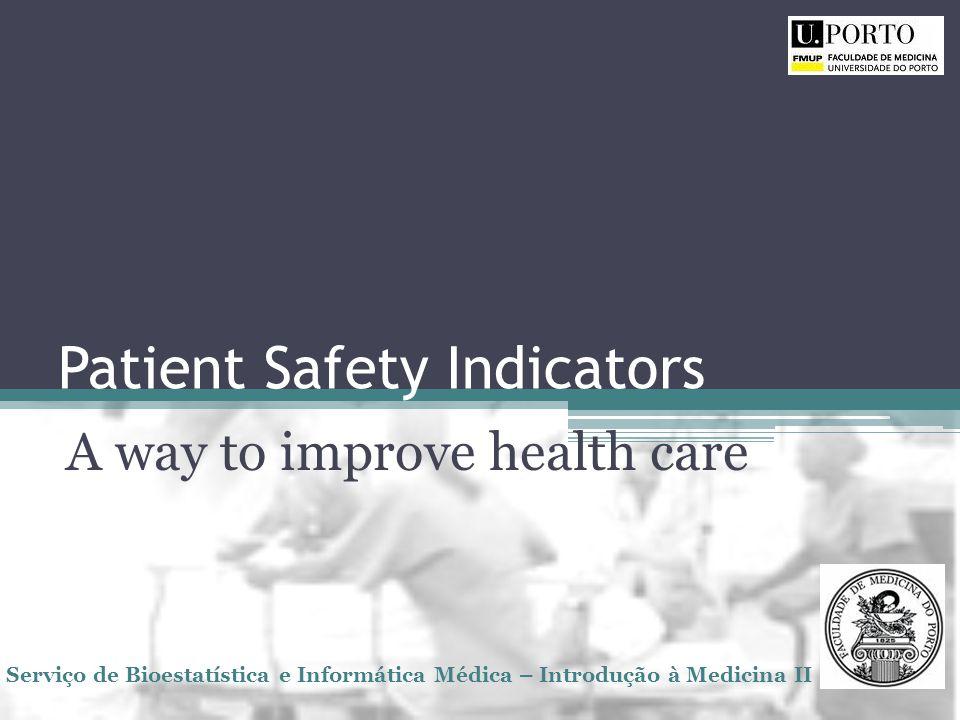 Patient Safety Indicators A way to improve health care Serviço de Bioestatística e Informática Médica – Introdução à Medicina II