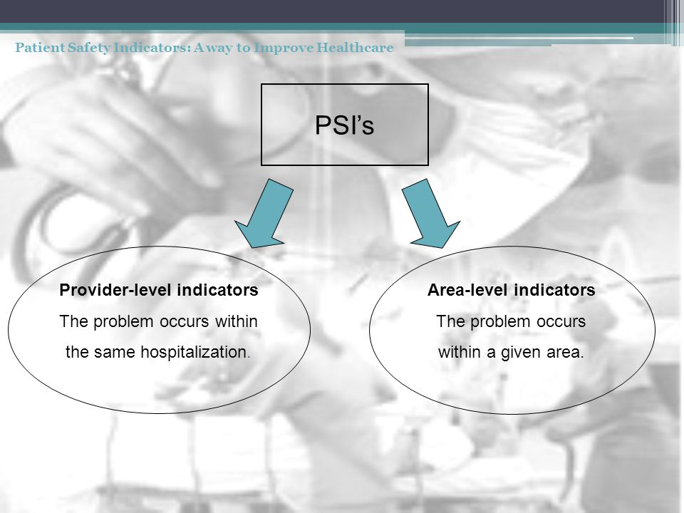 PSI's Provider-level indicators The problem occurs within the same hospitalization. Area-level indicators The problem occurs within a given area.