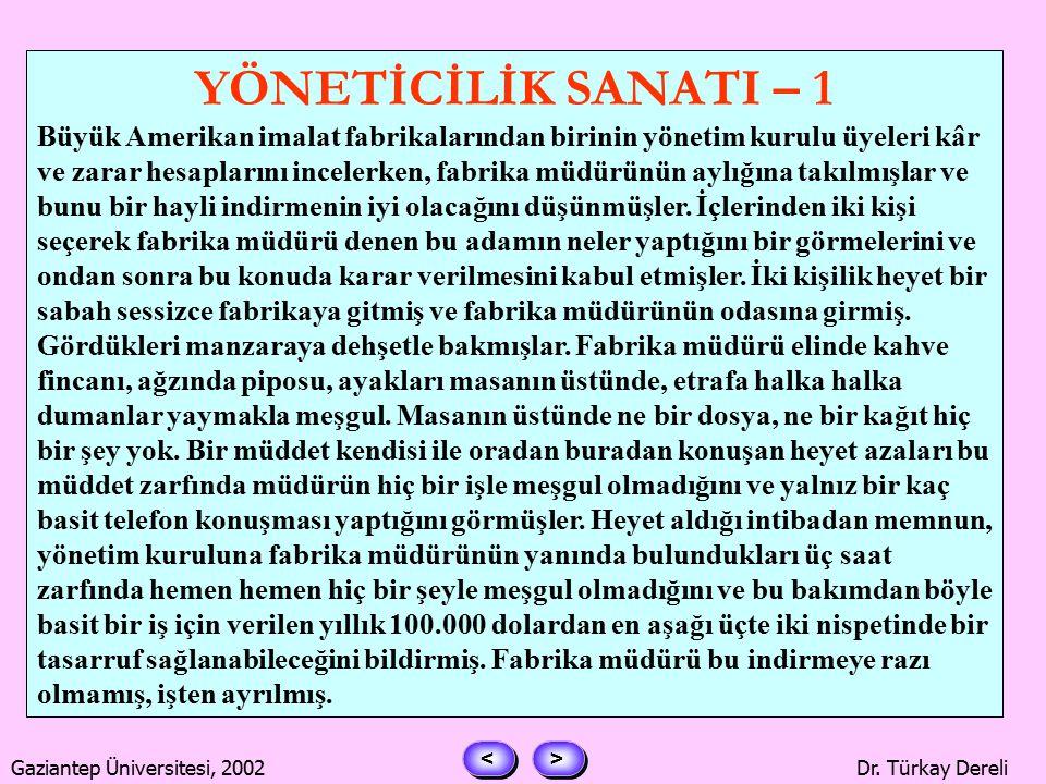 > > < < Gaziantep Üniversitesi, 2002Dr. Türkay Dereli Bütün yetkileri kendinde toplama.