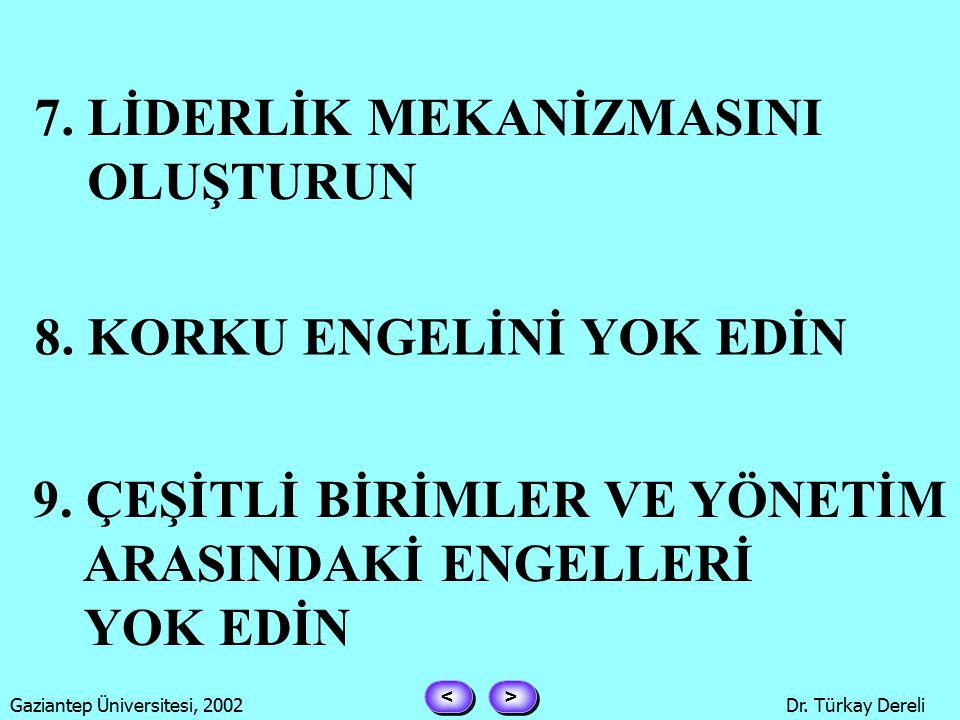 > > < < Gaziantep Üniversitesi, 2002Dr. Türkay Dereli 4.