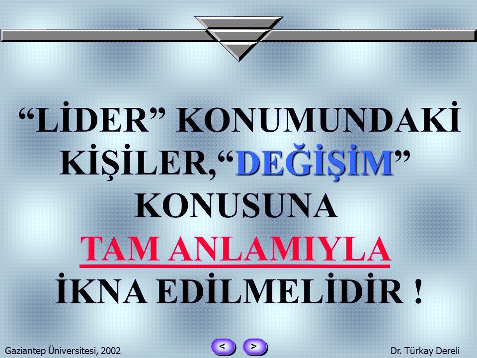 > > < < Gaziantep Üniversitesi, 2002Dr. Türkay Dereli LİDERLİK LİDERLİK