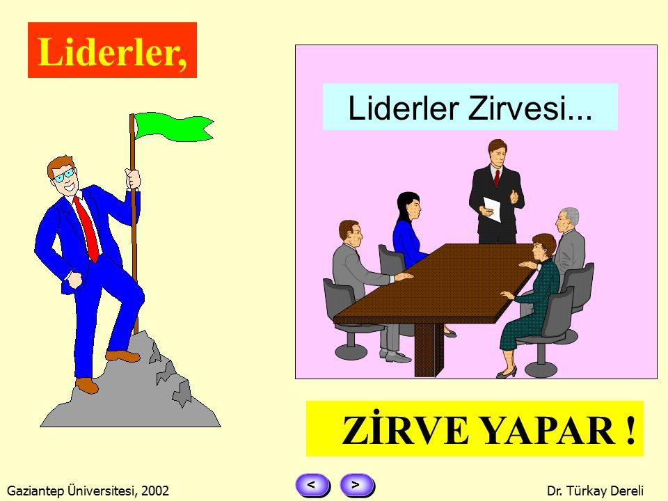 > > < < Gaziantep Üniversitesi, 2002Dr. Türkay Dereli Lider, MOTİVE EDER ! $