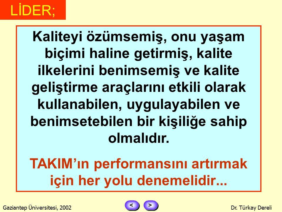> > < < Gaziantep Üniversitesi, 2002Dr. Türkay Dereli FATİH TERİM GİBİ OLUR... LİDER;