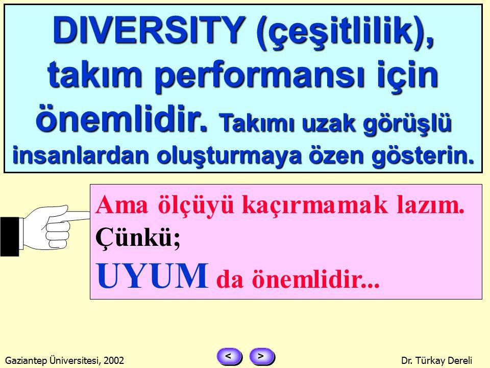 > > < < Gaziantep Üniversitesi, 2002Dr. Türkay Dereli TAKIM, DIVERGENT (uzaksak) MI .
