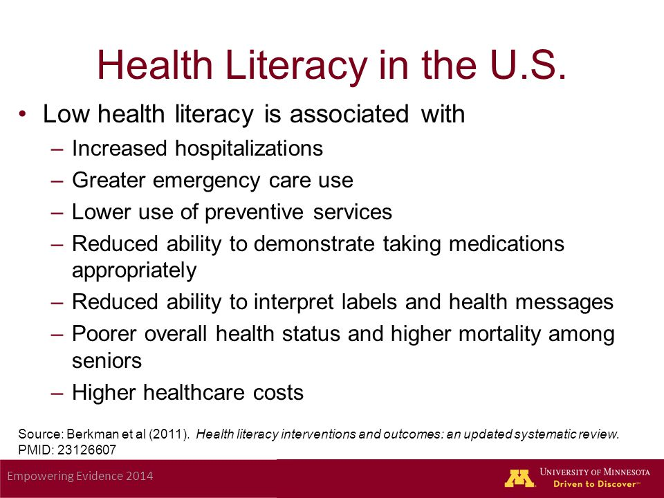 Empowering Evidence 2014 Health Literacy in the U.S.