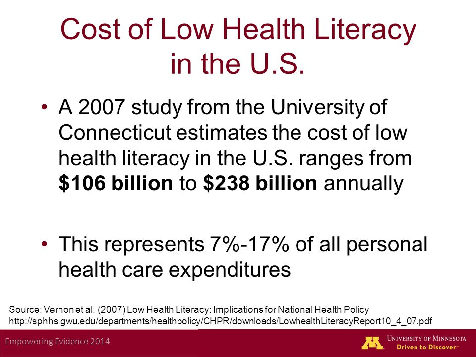 Empowering Evidence 2014 Cost of Low Health Literacy in the U.S.
