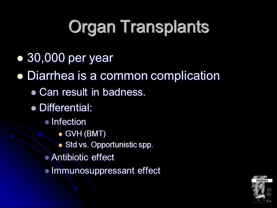 Organ Transplants 30,000 per year 30,000 per year Diarrhea is a common complication Diarrhea is a common complication Can result in badness. Can resul