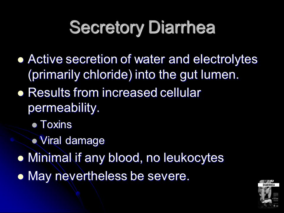 Osmotic Diarrhea Water and electrolytes are pulled into the lumen due to a high osmotic load.